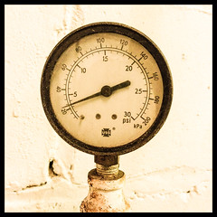 Old Pressure Gauge (William Shropshire) Tags: old copyright toronto ontario canada color colour circle square photography inch shropshire mechanical william photographs psi per gauge allrightsreserved 4s pounds iphone 2014