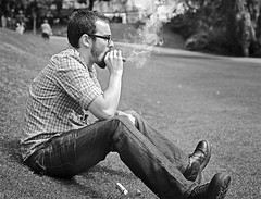 Smoking (D.J. De La Vega) Tags: leica scotland edinburgh y smoke cigar smoking churchill romeo julieta x1