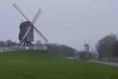 Brugge Windmills (James Woodward) Tags: windmill arms belgium wind brugge twin bruges