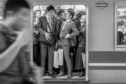 (8003463@N03), photography tags:  street leica bw japan subway minolta busy osaka mf f2 40mm 240 rokkor sallarymen f240mm