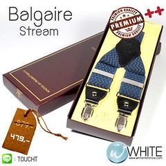 Balgaire Stream - สายเอี้ยม (Suspenders) สายสีน้ำเงิน ลายซิกแซกแนวตรงน้ำเงิน ดำ ขนาดสาย กว้าง 3.5 เซนติเมตร (CT023) by
