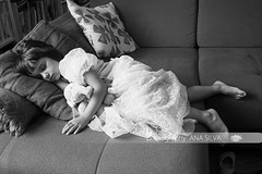 Little sleeping beauty (A_S_F) Tags: sleeping people blackandwhite playing children kid doll nap child dress teddy princess little sleep sofa barefoot chickenpox sick fatigue fancydress sleepingbeauty fever 4yearsold varicella