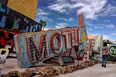 Retired Motel Sign Pointing the Way in HDR (eoscatchlight) Tags: sign lasvegas nevada neonsign arrow retired hdr rustyandcrusty yesteryear photomatix calnevari ofdaysgoneby neonsignmuseum