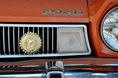 1975 Ford Pinto with Badge (Funkomaticphototron) Tags: coryfunk automobile car hood murdo southdakota vacation roadsideattraction historical chrome pioneerautomuseum ford pinto badge grill bumper orange 1975
