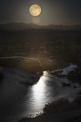 Moonrise over Las Vegas Wash (magnetic_red) Tags: moon supermoon water river stream wash reflection glow glowing light night longexposure nevada