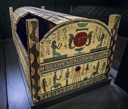 Outer coffin of Meret-it-es Egypt Late Period to Ptolemaic Period, 30th Dynasty to early Ptolemaic Dynasty 380-250 BCE Wood Pigment and Gesso