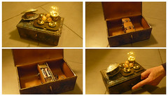 Steampunk Alchemy boxes (irecyclart) Tags: boxes lamps leather metal recycled steampunk