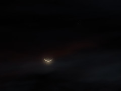 The Moon and Jupiter against early sunrise clouds (Distraction Limited) Tags: oldmoon moon luna jupiter clouds tucson arizona