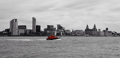 Liverpool Pilot (rustyruth1959) Tags: nikon nikond3200 tamron16300mm liverpool thewirral merseyside rivermersey river boat vessel pilotboat selectivecolour skyline landscape cityscape outdoor water buildings liverbuidling skyscrapers red bw panorama city liverbirds clock glass tower wake waves ripples explored explore inexplore