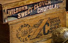 Wilbur's Sweet Clover Chocolate (Leaning Ladder Photography) Tags: kelby photowalk kelbyphotowalk2016 lititz leaningladder canon 7d kelbyphotowalk signs chocolate cocoa wilburchocolate