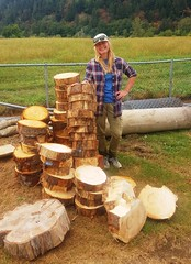 """Rhonda with the """"wood cookies"""" (to be used as a path) (BC Wildlife Federation's WEP) Tags: wetlandsinstitute lowermainland bcwf wetlandseducationprogram wep bcwildlifefederation wetlands restoration educationmission dewdney chilliwack pitmeadows langley bc silverdale"""