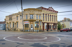 pizza and the opera hall (contemplative imaging) Tags: autumn october nikon american walworthcounty street day midwestern 2016 fall 20161015 small smalltown dslr stores sharon photography architecture d7000 yellow business businesses photo 32 brickcircle circle foggy ciwisc20161015d7000 architectural cloudy storefronts brick wi overcast rural operahall town structures structure buildings building country pizza landscape wisconsin digital ronzack america saturday fog usa midwest contemplativeimaging cool