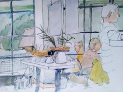 Pear Tree cafe 21-11-16 (Utopist) Tags: watercolour watercolor portrait battersea park cafe coffee pear tree