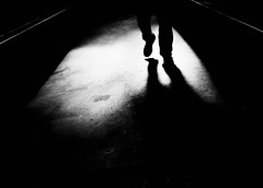 at nightfall (Dan-Schneider) Tags: streetphotography schwarzweiss silhouette shadow olympus omdem10 monochrome mood human step dark night light