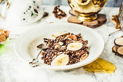 Homemade chocolate granola with banana and peanut butter (harmonyandtaste) Tags: autumn background berry bowl breakfast cereal chocolate cleaneating closeup country dairyfree delicious dessert diet dry food fresh fruit glutenfree goji gourmet grain granola greek healthy healthylifestyle homemade meal metabolism morning muesli natural nobody nutrition oat oatmeal onlyhealthyingredients organic parfait plantbased plate rustic seed snack sweet vegan warmbackground white wooden