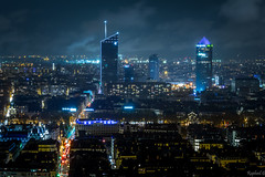 Lyon by night under the rain (raphael-g) Tags: nikon d5200 night blue hour lyon france tour crayon tower city cityscape rain caisse depargne long exposure manfroto serge ramelli beautiful light lights lumières nuits les de la ville fourvière rhone