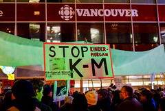 Stop KM Nov29 Rally (Bhlubarber) Tags: activism artgallery cbc energy kindermorgan oil pipeline protest rally robson street transmountain vancouver stopkm nokm resistance city urban justintrudeau people power