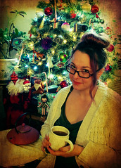 First Winter's Snow (Opal in the rough) Tags: self portrait christmas tree tea