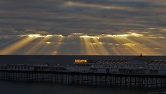 Beaming Brighton (brightondj - getting the most from a cheap compact) Tags: brightonandhove brightonpier sea sky clouds sunbeams rays beams pier palacepier bus crepuscularrays