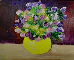Yellow Vase & Flowers (BKHagar *Kim*) Tags: bkhagar painting paint acrylic vase bowl flowers floral bright art artwork impressionist