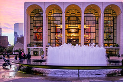 Sunset Behind The Met (Bruce Livingston) Tags: nyc newyorkcity architecture sky sunset dusk fountain marcchagall themet