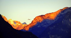 Sunset flight (Nada BN) Tags: sunset airplane dolomiti belluno italy alps