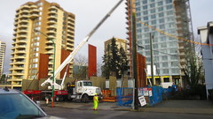 Placing pre fabricated walls in place (D70) Tags: aldynne construction burnaby bc canada building by polygon for their new apartment residences 5808 patterson avenue will be 37 stories with 242 units placing pre fabricated walls place truck