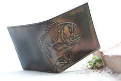 BASS FISH Double ID Bifold Wallet - Men's Leather Wallet - Personalized Wallet (hoapham907) Tags: ebay wallet bifold handmade