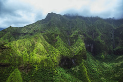 Npali Waterfalls (Adam Claeys) Tags: landscape mountain hill foothill outdoor waterfall falls green jurassic heli helicopter high sky clouds weather valley garden isle island tropical pacific na pali coast wilderness beauty beautiful scenic view