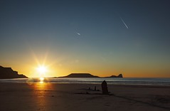 Shadows in the sunset (Jo Evans1 - Off and on for a while) Tags: rhossili worms head wreck helvetia sunset long shadows beach sand