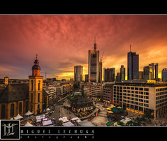 Frankfurt Skyline by Dusk (MLechuga Photography) Tags: world life street new old city travel blue light sky people sun mountain lake building castle art church night clouds digital canon germany deutschland photography eos photo europe action bokeh dusk mark iii wideangle chrome 5d summertime usm dslr canoneos hdr 1635mm