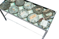 "Glass Top Film Canister Coffee Table - Top View (SOLD) • <a style=""font-size:0.8em;"" href=""http://www.flickr.com/photos/80301931@N08/9149757248/"" target=""_blank"">View on Flickr</a>"