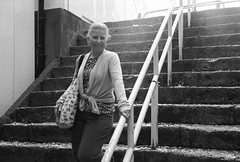 Mom Stairs Portrait (The 10 Thousand Things) Tags: portrait bw stairs rollei zeiss mom fuji iso400 posed roppongi neopan steep sonnar rollei35s neopanpresto 40mm28