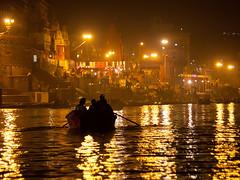 Boattrip (Dick Verton ( more than 15.000.000 visitors )) Tags: travel sunset india river lights boat asia magic varanasi rowing ganges dickverton