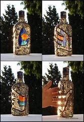 "Mosaic Bottle ""Dr. Love's Premium Elixir"" (Chris Emmert) Tags: blue black flower love glass silver beads bottle recycled mosaic mixedmedia mosaics cocktail liquor booze homedecor decanter ballchain temperedglass remelts flickrmosaicartists chrisemmertmosaic chrisemmertcom 71dr"