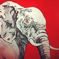 Elephant-Nos... (ikanografik) Tags: pictures street red streetart elephant paris france art square graffiti artwork tag graf squareformat draw graff rise kano ikano cbs odv onoff cantbestopped kanos iphoneography ikanografik cellograff instagramapp uploaded:by=instagram