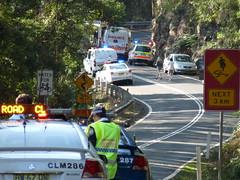 the sign says it all (sth475) Tags: road park trees nature sign nationalpark spring bush closed picnic accident police ambulance nsw policecar commodore holden earlyspring royalnationalpark illawarra uppercauseway
