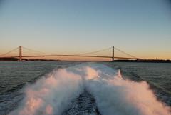 Daily Commute to the Rockaways (juan tan kwon) Tags: morning bridge brooklyn sunrise river dawn boat downtown manhattan september east hudson statueofliberty jamaicabay verrazanonarrows rockaways mannion pier11 2013
