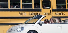 School's Out Transportation (Philip Osborne Photography) Tags: school girls bus mill vw bug high driving with fort south blondes carolina convertable