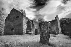 St Bride's Kirk (Christian Hacker) Tags: autumn blackandwhite bw building history church monochrome graveyard stone clouds canon eos mono scotland site cloudy cemetary tombstone perthshire ruin dramatic scottish historic spooky gravestone burial blair aged mound lichens leaning mossy crooked kirk eery ruined blaircastle bonniedundee atholl 50d johngraham stbrideskirk fallenintoruin oldandaged 1stviscountofdundee