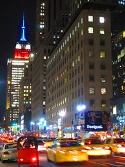 Empire State Building red, white and blue for election day (AndrewDallos) Tags: nyc newyorkcity manhattan empirestatebuilding electionday