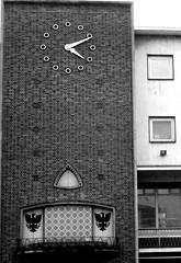Peeping Tom Clock, Coventry (Twizzer88) Tags: uk greatbritain england bw clock architecture unitedkingdom britain modernism coventry westmidlands warwickshire modernist midlands