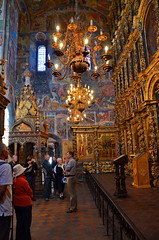 Interior of the Church of Elijah the Prophet, Yaroslavl (Yvon from Ottawa) Tags: art church river gallery russia 17thcentury paintings canopy bishop throne volga yaroslavl rivercruise frescoes iconostasis uniworld elijahtheprophet rivervictoria imperialwaterwaysofrussia