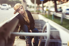 Lucia InDa Street (giuseppeterruso) Tags: street urban girl backlight cap skate blonde skater hiphop palermo etnies newera