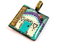 Blessed House Pendant Necklace (ChickieGirlCreations) Tags: house art tile necklace handmade jewelry polymerclay tiles handcrafted etsy inspirational pendant blessed hopeful inchie