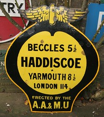 Restored Haddiscoe, Norfolk - the black lettering had all flaked off due to poor quality enamelling during manufacture. AA Village Signs at the Colne Valley POstal History Museum, Essex (kitmasterbloke) Tags: heritage sign vintage village historic legacy aa enamel automobileassociation