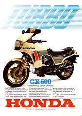 Publicit Honda CX500 Turbo 1981 P001 (gueguette80 ... non voyant pour une dure indte) Tags: old 1969 bike honda advertising japanese pub scan publicit motos adverts k1 motorrad anciennes prospectus rclame japonaises publicites