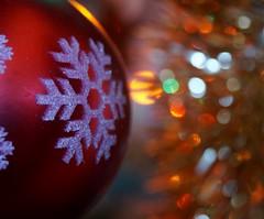 Holiday Bokeh (jcl34) Tags: snowflake christmas red macro tree closeup lights bokeh bauble holidaybokeh macromondays