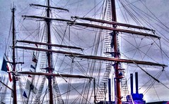 Masts Sagres IIi of Tall Ship of Portugal at Black Falcon Pier in South Boston Massachusetts (Bravehardt) Tags: black portugal boston pier ship massachusetts south iii falcon tall masts hdr sagres hdraddicted