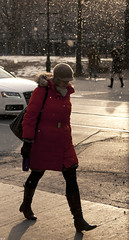 Morning Snow (sigma.) Tags: street red fashion style snowing had streetfashion stride rimlight morningsnow streetstyle torontostyle torontostreetstyle